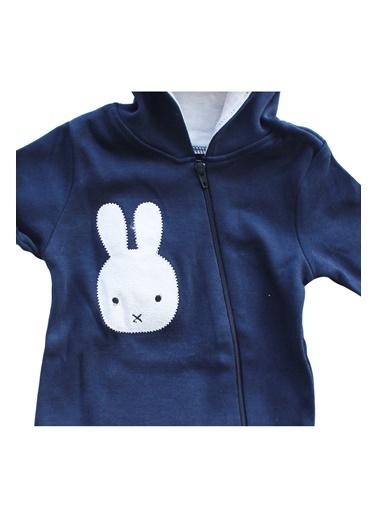 By Bebek Odam Yeni Model Tavşan Kulaklı Ponponlu Bebek Tulum Lacivert
